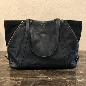 Fossil Convertible Leather and Suede Tote Bag